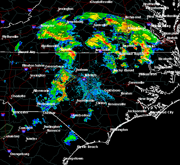 Radar Image for Severe Thunderstorms near Sanford, NC at 7/5/2015 8:09 PM EDT
