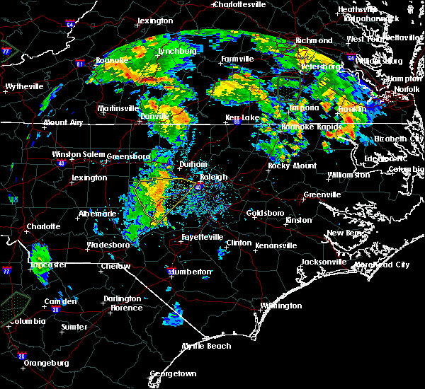 Radar Image for Severe Thunderstorms near Sanford, NC at 7/5/2015 8:24 PM EDT