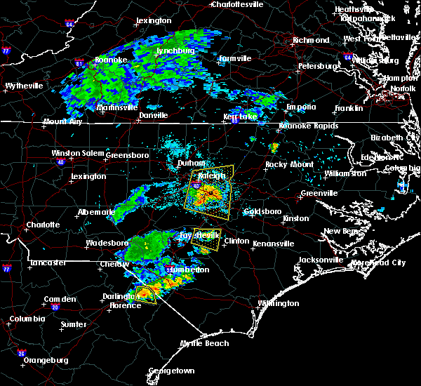 Radar Image for Severe Thunderstorms near Smithfield, NC at 7/8/2015 10:07 PM EDT