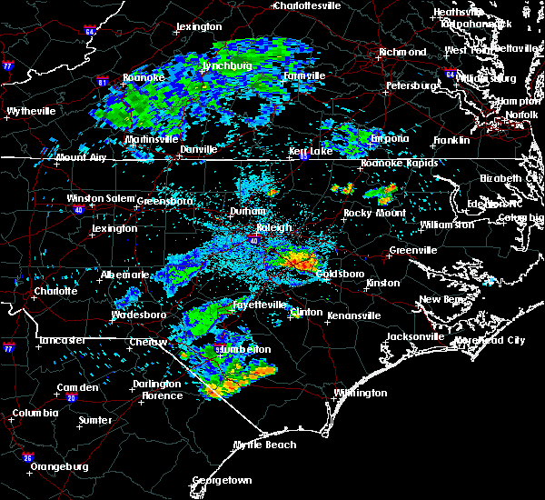Radar Image for Severe Thunderstorms near Archer Lodge, NC at 7/8/2015 10:41 PM EDT