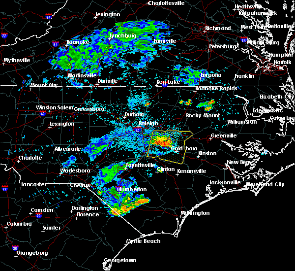 Radar Image for Severe Thunderstorms near Mount Olive, NC at 7/8/2015 10:53 PM EDT