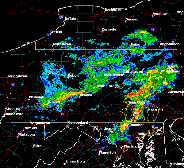 Radar Image for Severe Thunderstorms near Gordon, PA at 7/9/2015 6:04 PM EDT