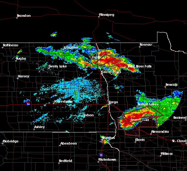 Radar Image for Severe Thunderstorms near Stephen, MN at 7/12/2015 5:28 PM CDT