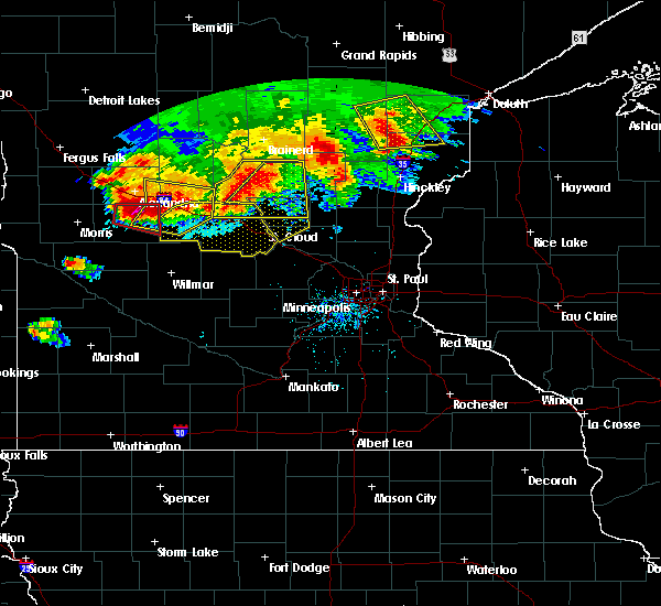 Radar Image for Severe Thunderstorms near Elmdale, MN at 7/12/2015 8:29 PM CDT