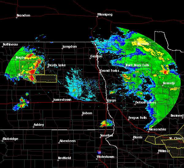 Radar Image for Severe Thunderstorms near McHenry, ND at 7/12/2015 9:00 PM CDT
