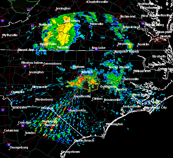 Radar Image for Severe Thunderstorms near Smithfield, NC at 7/13/2015 7:26 AM EDT