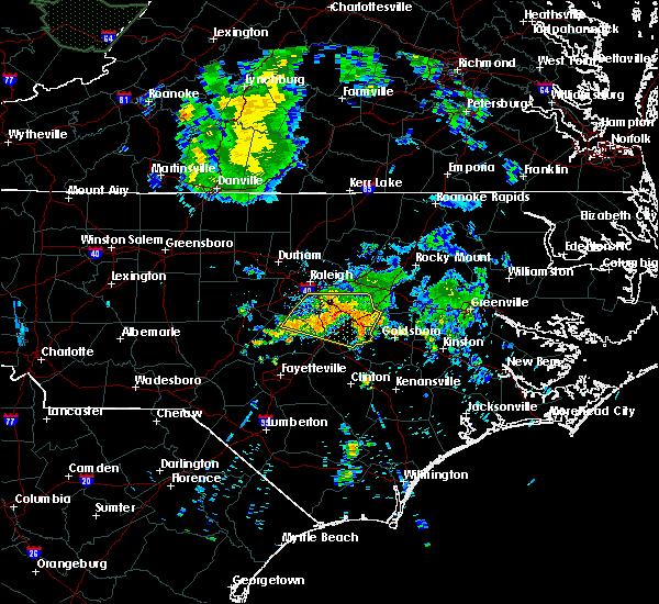 Radar Image for Severe Thunderstorms near Smithfield, NC at 7/13/2015 7:50 AM EDT