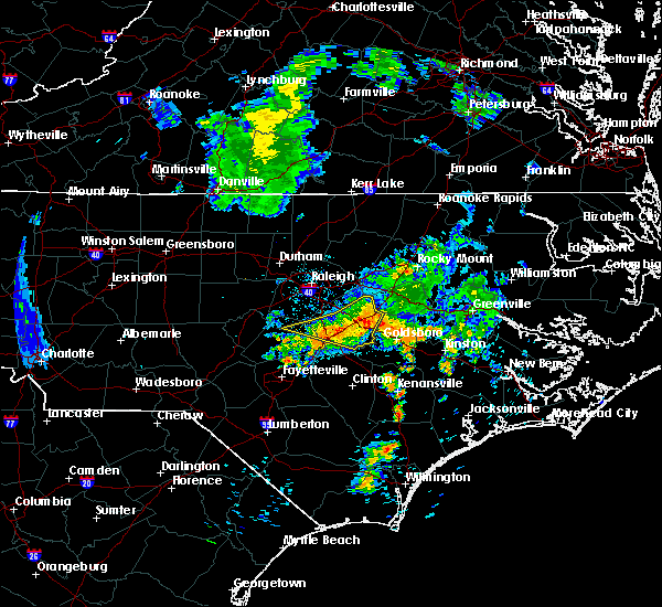 Radar Image for Severe Thunderstorms near Kenly, NC at 7/13/2015 8:15 AM EDT