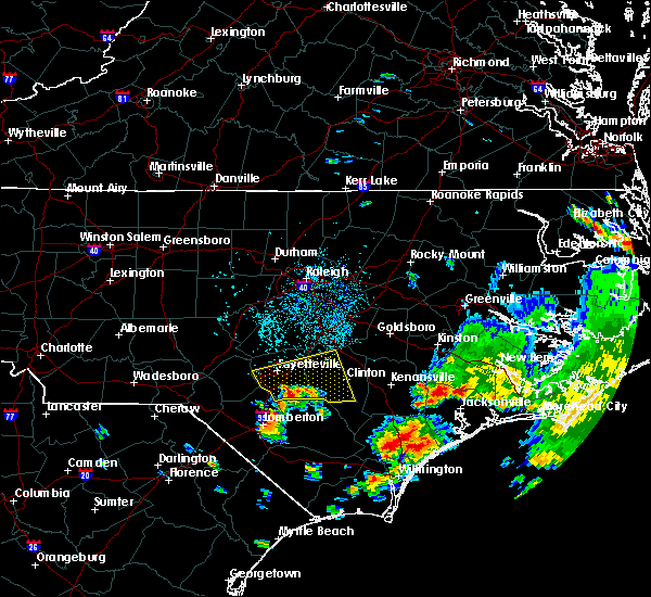 Radar Image for Severe Thunderstorms near Fayetteville, NC at 7/13/2015 1:08 PM EDT