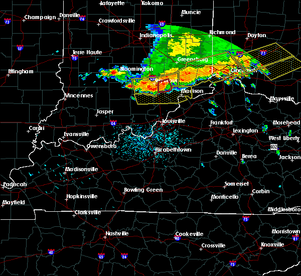 Radar Image for Severe Thunderstorms near Butlerville, IN at 7/13/2015 1:33 PM EDT