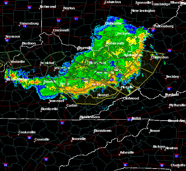 Radar Image for Severe Thunderstorms near Warfield, KY at 7/13/2015 4:31 PM EDT