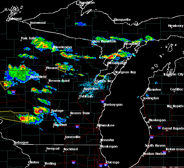 Radar Image for Severe Thunderstorms near Aniwa, WI at 7/13/2015 6:06 PM CDT