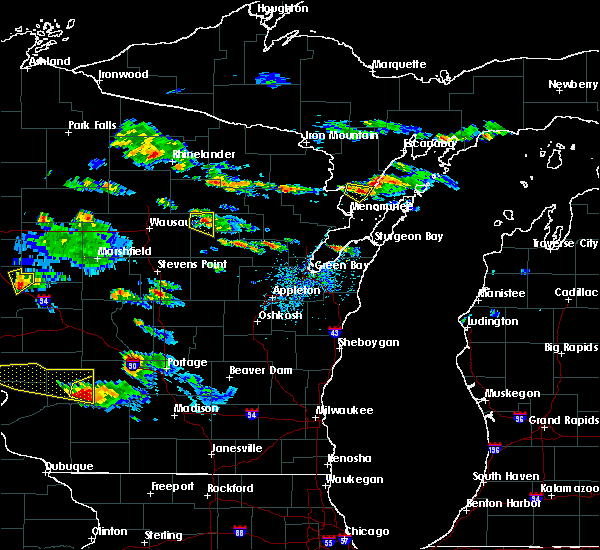 Radar Image for Severe Thunderstorms near Aniwa, WI at 7/13/2015 6:14 PM CDT
