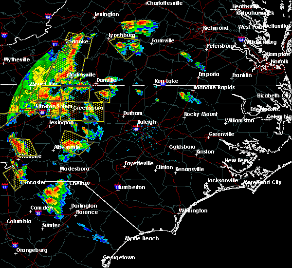Radar Image for Severe Thunderstorms near Pinehurst, NC at 7/13/2015 8:33 PM EDT
