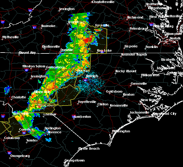 Radar Image for Severe Thunderstorms near Sanford, NC at 7/13/2015 10:28 PM EDT