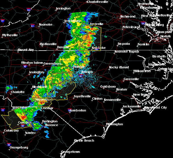 Radar Image for Severe Thunderstorms near Rockingham, NC at 7/13/2015 10:50 PM EDT