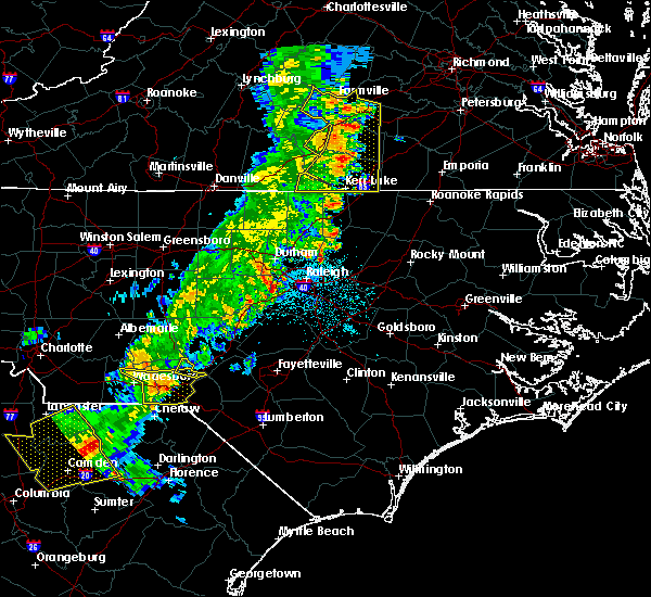 Radar Image for Severe Thunderstorms near Rockingham, NC at 7/13/2015 11:00 PM EDT