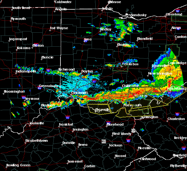 Radar Image for Severe Thunderstorms near Bentonville, OH at 7/14/2015 4:33 PM EDT