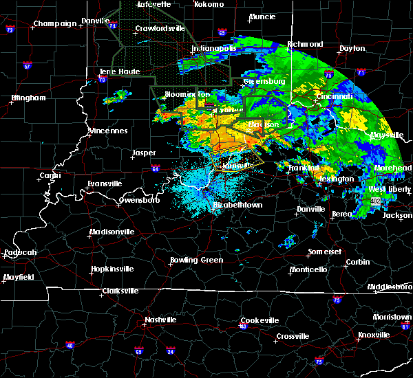 Radar Image for Severe Thunderstorms near Utica, KY at 7/17/2015 10:11 PM EDT