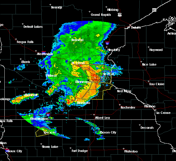 Radar Image for Severe Thunderstorms near St. Marys Point, MN at 7/18/2015 12:50 AM CDT