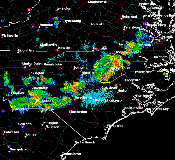 Radar Image for Severe Thunderstorms near Wilson, NC at 7/18/2015 3:54 PM EDT