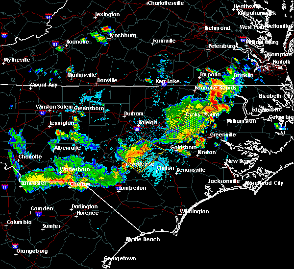 Radar Image for Severe Thunderstorms near Kenly, NC at 7/18/2015 4:29 PM EDT