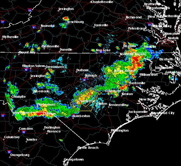 Radar Image for Severe Thunderstorms near Fayetteville, NC at 7/18/2015 4:43 PM EDT