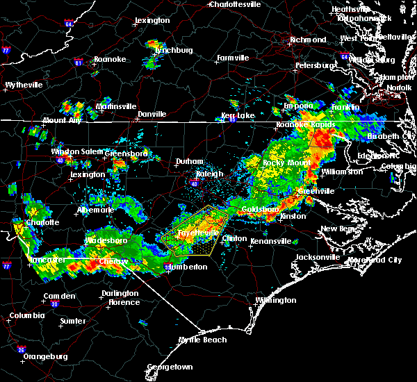 Radar Image for Severe Thunderstorms near Fayetteville, NC at 7/18/2015 4:56 PM EDT