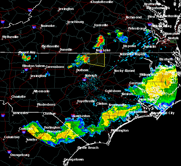 Radar Image for Severe Thunderstorms near Kittrell, NC at 7/18/2015 8:09 PM EDT