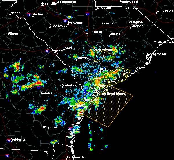 Radar Image for Severe Thunderstorms near Edisto Beach, SC at 7/19/2015 4:14 PM EDT