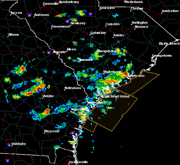 Radar Image for Severe Thunderstorms near Edisto Beach, SC at 7/19/2015 4:34 PM EDT