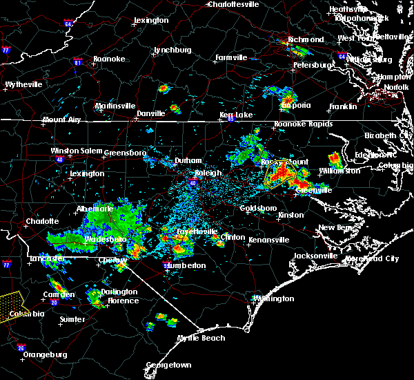 Radar Image for Severe Thunderstorms near Pinetops, NC at 7/19/2015 6:50 PM EDT