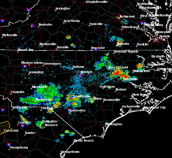 Radar Image for Severe Thunderstorms near Pinetops, NC at 7/19/2015 6:58 PM EDT