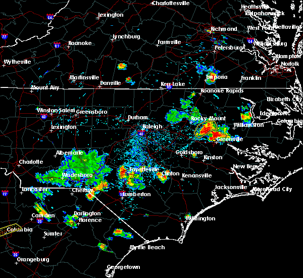 Radar Image for Severe Thunderstorms near Pinetops, NC at 7/19/2015 7:10 PM EDT