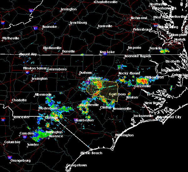Radar Image for Severe Thunderstorms near Kenly, NC at 7/21/2015 7:58 PM EDT