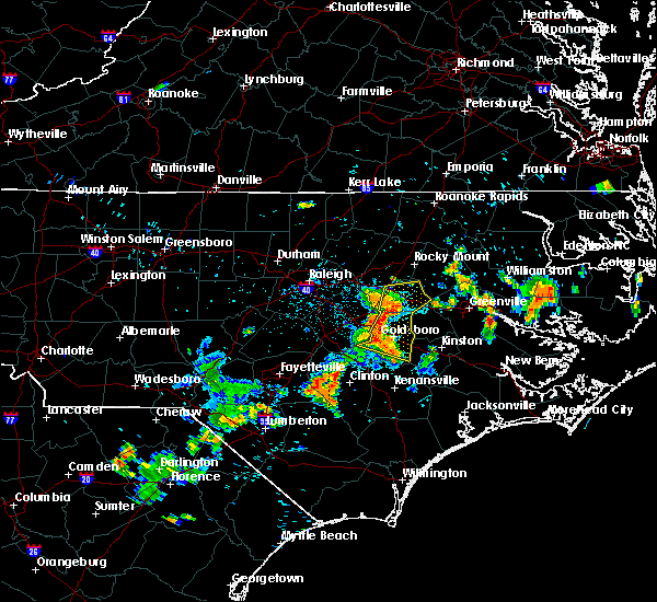 Radar Image for Severe Thunderstorms near Wilson, NC at 7/21/2015 8:32 PM EDT