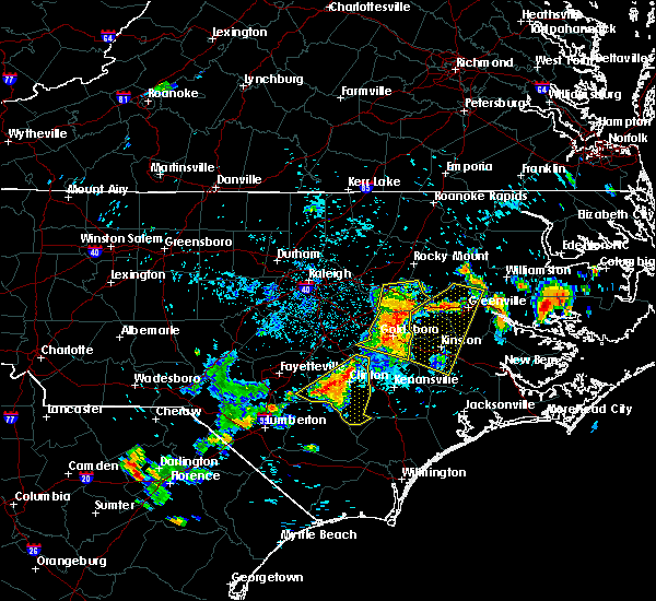 Radar Image for Severe Thunderstorms near Clinton, NC at 7/21/2015 8:40 PM EDT