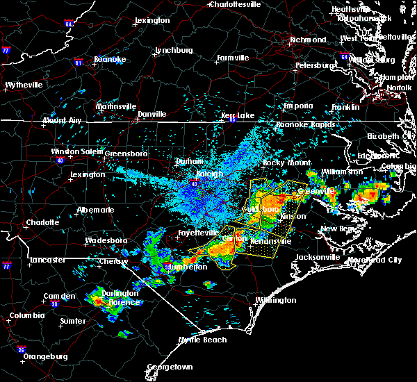 Radar Image for Severe Thunderstorms near Mount Olive, NC at 7/21/2015 9:00 PM EDT