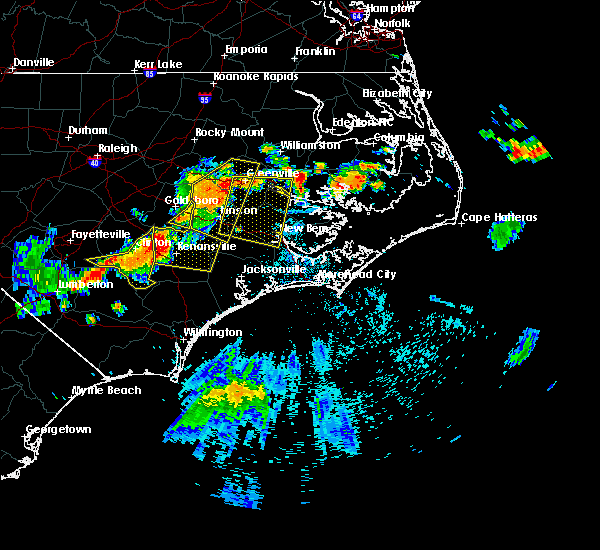 Radar Image for Severe Thunderstorms near Dover, NC at 7/21/2015 9:10 PM EDT