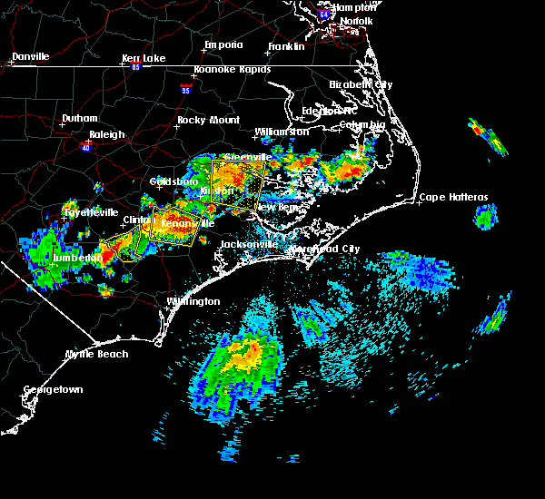Radar Image for Severe Thunderstorms near Jacksonville, NC at 7/21/2015 9:32 PM EDT