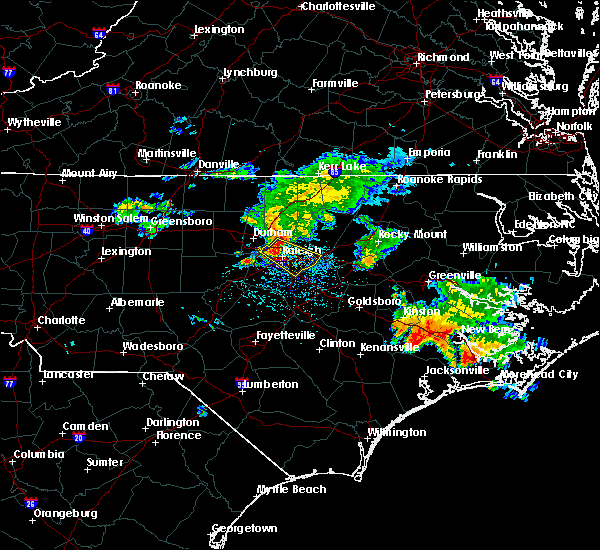 Radar Image for Severe Thunderstorms near Durham, NC at 7/23/2015 10:51 AM EDT