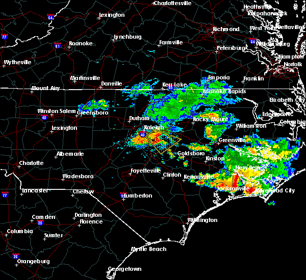 Radar Image for Severe Thunderstorms near Kenly, NC at 7/23/2015 11:52 AM EDT