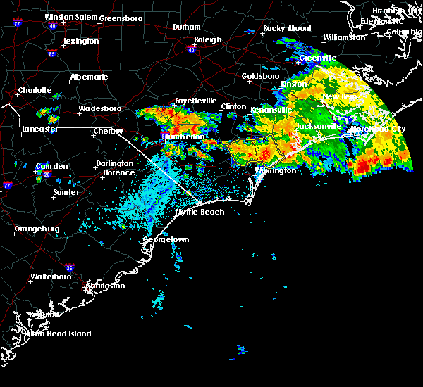 Radar Image for Severe Thunderstorms near Burgaw, NC at 7/23/2015 3:14 PM EDT