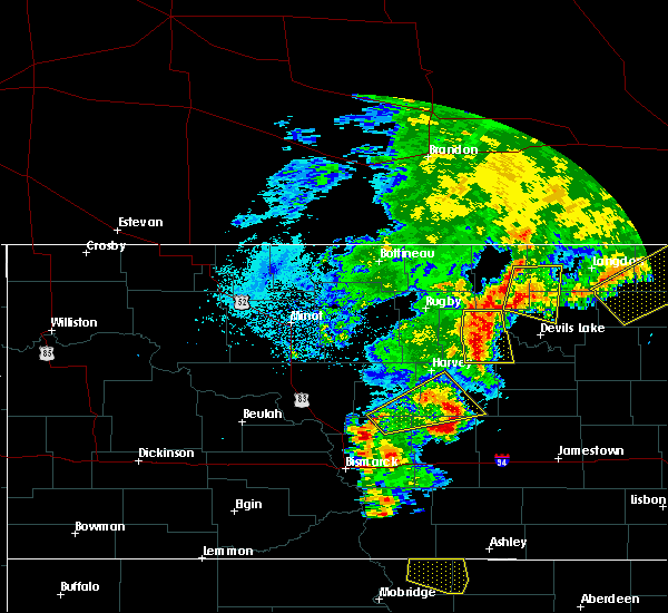 Radar Image for Severe Thunderstorms near Minnewaukan, ND at 7/23/2015 9:12 PM CDT
