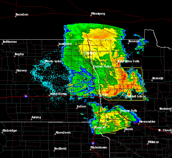 Radar Image for Severe Thunderstorms near Glyndon, MN at 7/24/2015 1:08 AM CDT