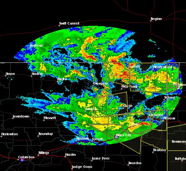 Radar Image for Severe Thunderstorms near Wibaux, MT at 7/27/2015 8:42 PM MDT