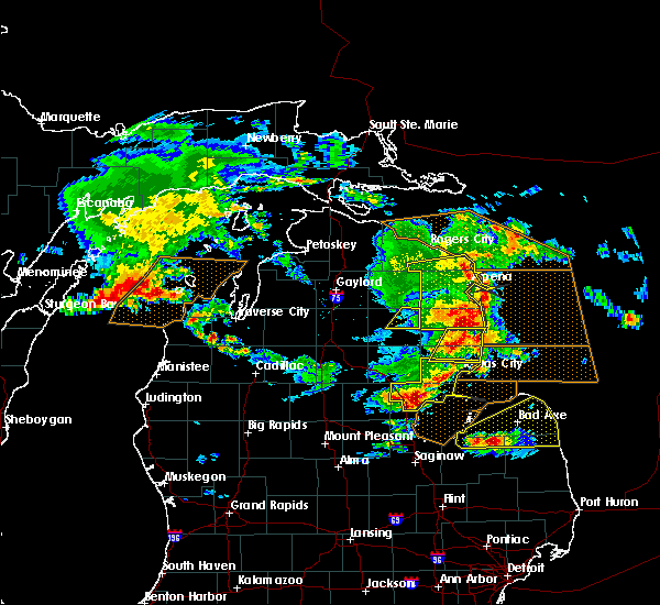 Radar Image for Severe Thunderstorms near Au Sable, MI at 8/2/2015 1:57 PM EDT