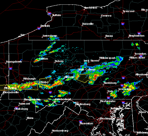 Radar Image for Severe Thunderstorms near New Buffalo, PA at 8/4/2015 12:28 AM EDT
