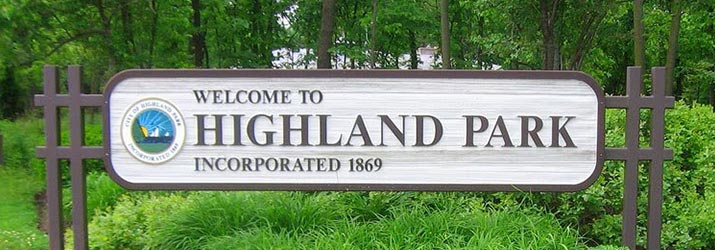 Highland Park Welcome Sign