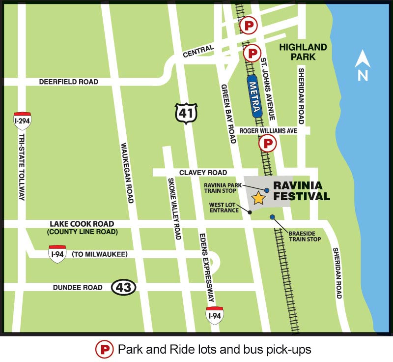 map of Ravinia Park and Ride lots